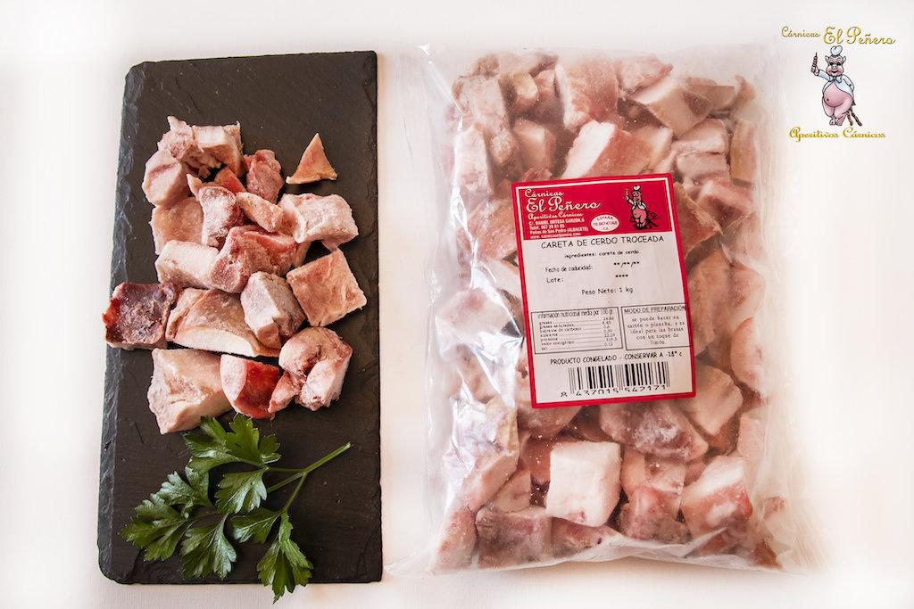 Careta de Cerdo Cruda Troceada. 1 Kg