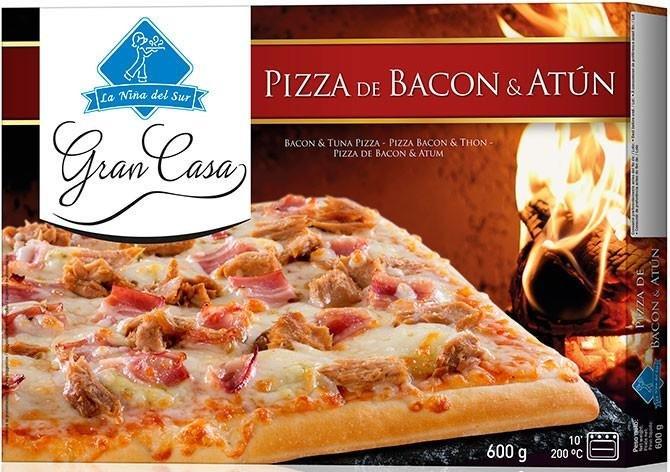 Pizza Gran Casa Bacon y Atún 600g.