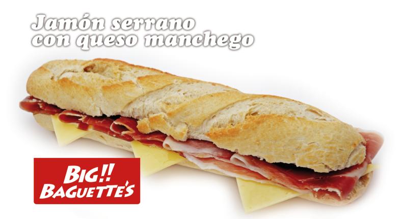 Baguette de Jamón Serrano y Queso. 6 Uds.